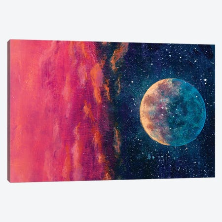 Fantastic Oil Painting Beautiful Big Planet Moon Among Stars In Universe. Canvas Print #VRY372} by Valery Rybakow Canvas Art