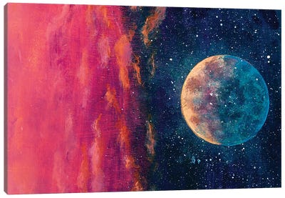 Fantastic Oil Painting Beautiful Big Planet Moon Among Stars In Universe. Canvas Art Print