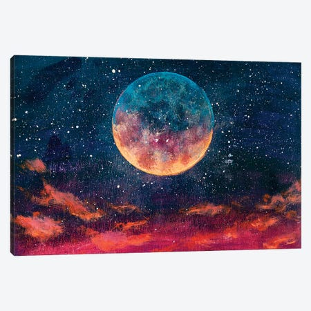Moon Among Stars In Universe 3-Piece Canvas #VRY373} by Valery Rybakow Canvas Wall Art