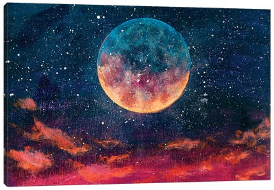 Moon Among Stars In Universe Canvas Art Print
