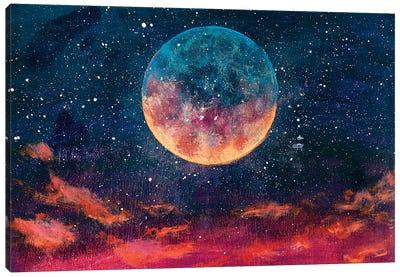 Moon Among Stars In Universe Canvas Art Print