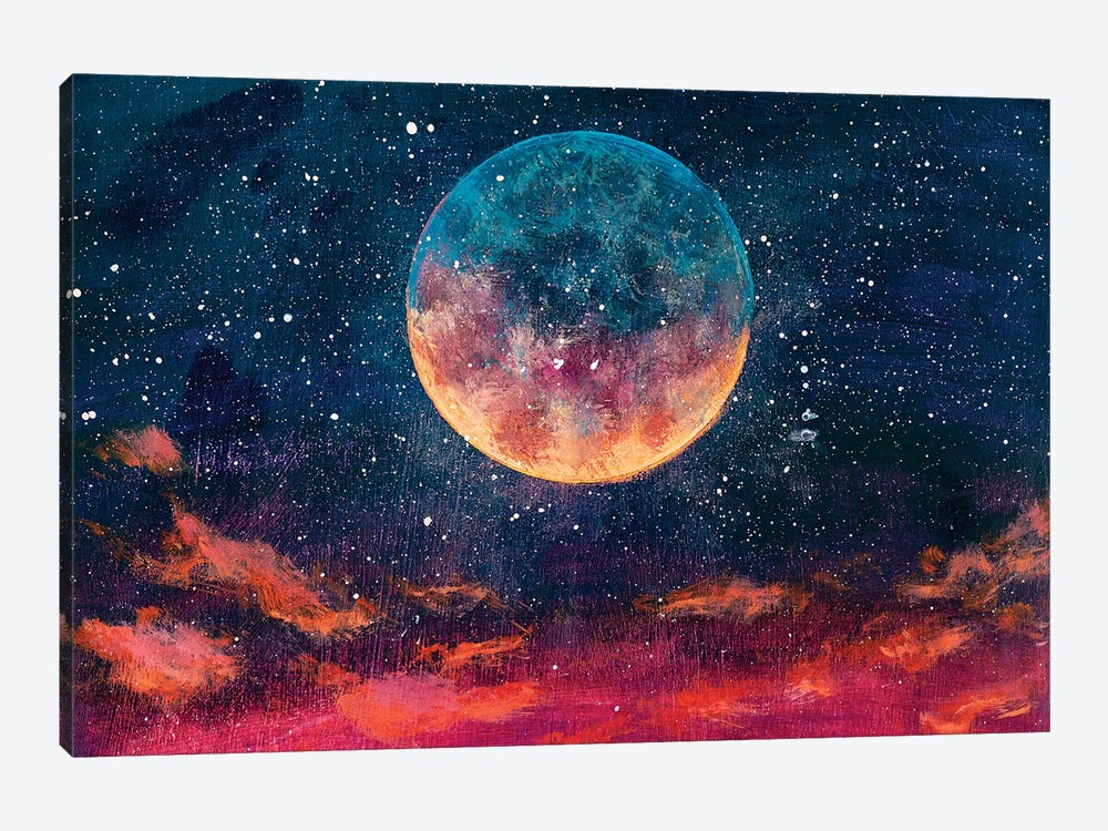 Moon Among Stars In Universe by Valery Rybakow 1-piece Canvas Wall Art