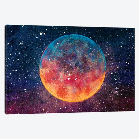Painting Beautiful Big Planet Moon Among Stars In Universe Canvas Print #VRY374} by Valery Rybakow Canvas Print