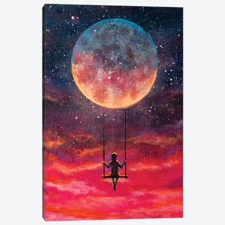 Girl Guy Man Riding On Big Moon Planet Earth Canvas Print #VRY375} by Valery Rybakow Art Print