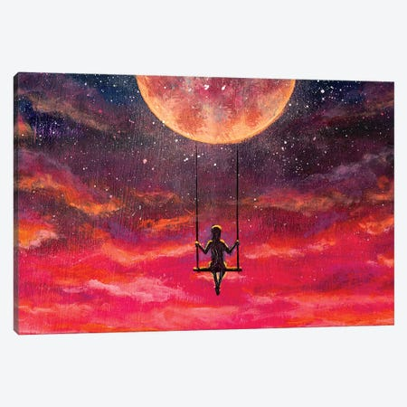 Girl Guy Rides On Swing In Sky Against Starry Sky. Canvas Print #VRY376} by Valery Rybakow Canvas Print