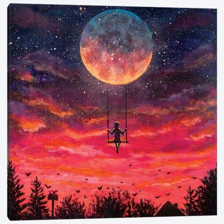 Man Riding On Big Moon Planet Earth Canvas Print #VRY377} by Valery Rybakow Canvas Art Print