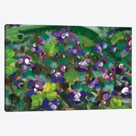 Blue Violet Flowers In Spring Grass Canvas Print #VRY379} by Valery Rybakow Canvas Artwork
