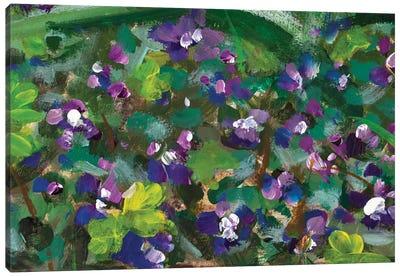Blue Violet Flowers In Spring Grass Canvas Art Print