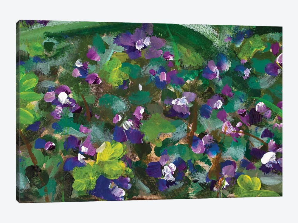 Blue Violet Flowers In Spring Grass by Valery Rybakow 1-piece Canvas Wall Art