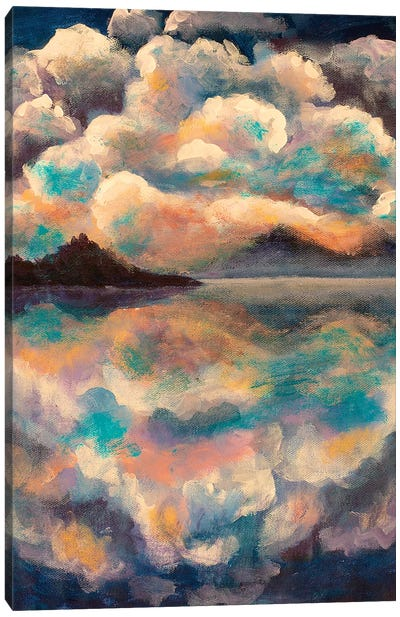 Fluffy Clouds Reflected Canvas Art Print
