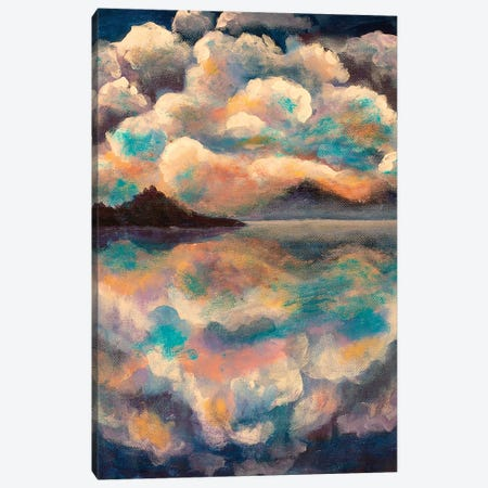 Fluffy Clouds Reflected Canvas Print #VRY37} by Valery Rybakow Canvas Art