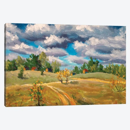 Beautiful Clouds Old Rural Houses In Spring Field Canvas Print #VRY380} by Valery Rybakow Canvas Print