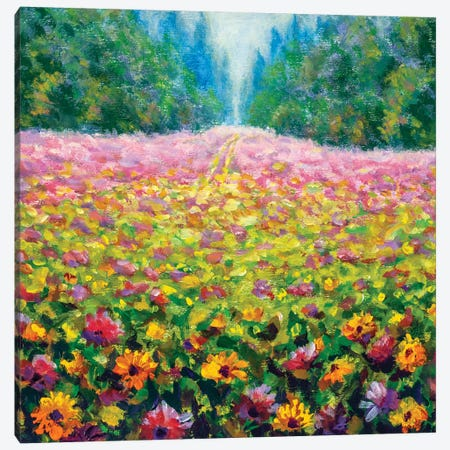Beautiful Field Flowers In Forest Canvas Print #VRY385} by Valery Rybakow Canvas Art