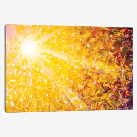 Beautiful Sun Rays Sunshine In Orange Gold Autumn Canvas Print #VRY386} by Valery Rybakow Canvas Artwork