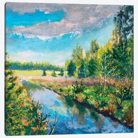 river In spring green forest Canvas Print #VRY392} by Valery Rybakow Canvas Wall Art