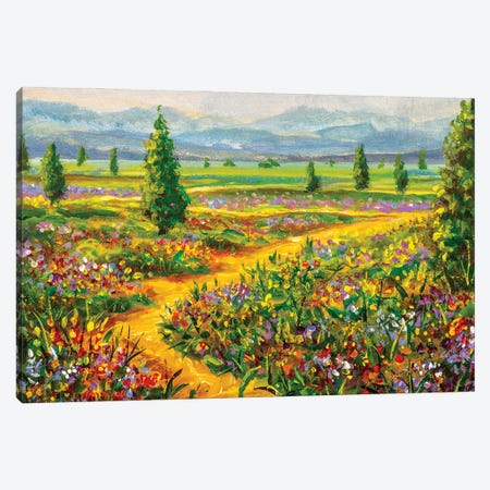 Summer landscape and country road Canvas Print #VRY393} by Valery Rybakow Canvas Wall Art