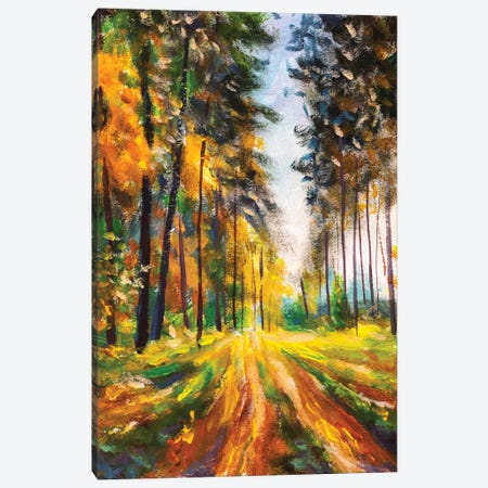 Autumn Spring Forest In Morning Sunlight Canvas Print #VRY397} by Valery Rybakow Canvas Art Print