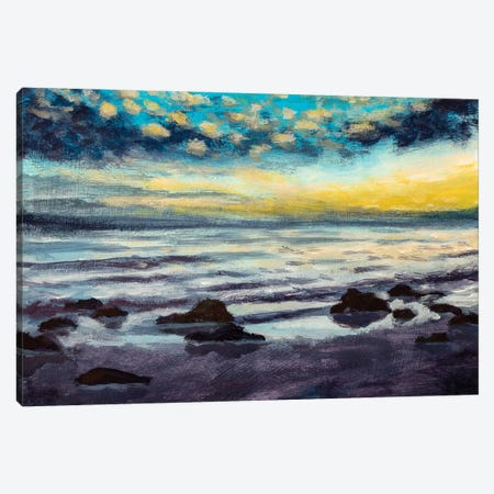 Beautiful Sunset On Beach Sea Canvas Print #VRY399} by Valery Rybakow Canvas Wall Art