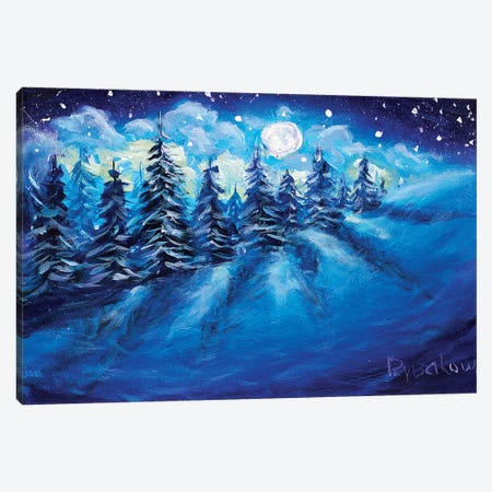 Full Moon Rising Above Winter Canvas Print #VRY39} by Valery Rybakow Art Print