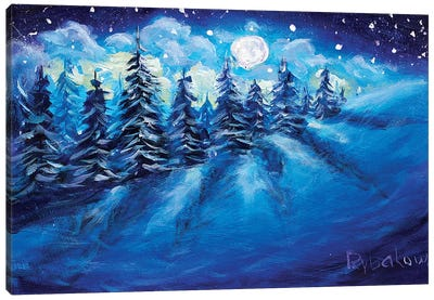 Full Moon Rising Above Winter Canvas Art Print
