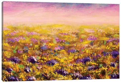 Abstract Flowers Field Canvas Art Print