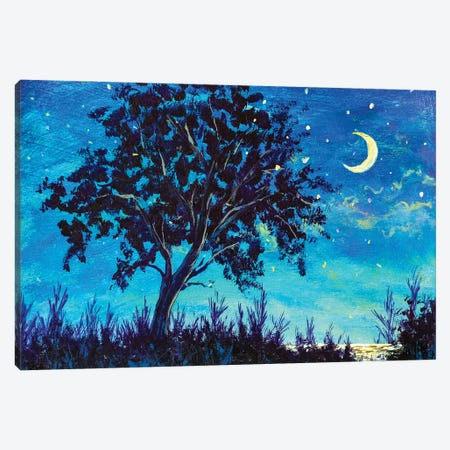 Oil painting night landscape - Starry Night sky with moon and Lonely Tree, grass and sea water Canvas Print #VRY400} by Valery Rybakow Canvas Art