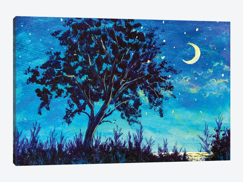 Oil painting night landscape - Starry Night sky with moon and Lonely Tree, grass and sea water by Valery Rybakow 1-piece Art Print