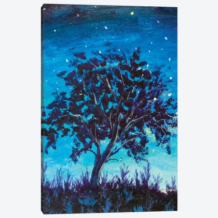 Shooting Stars In Fantasy Landscape At Night. Big lonely dark tree Canvas Print #VRY401} by Valery Rybakow Canvas Wall Art