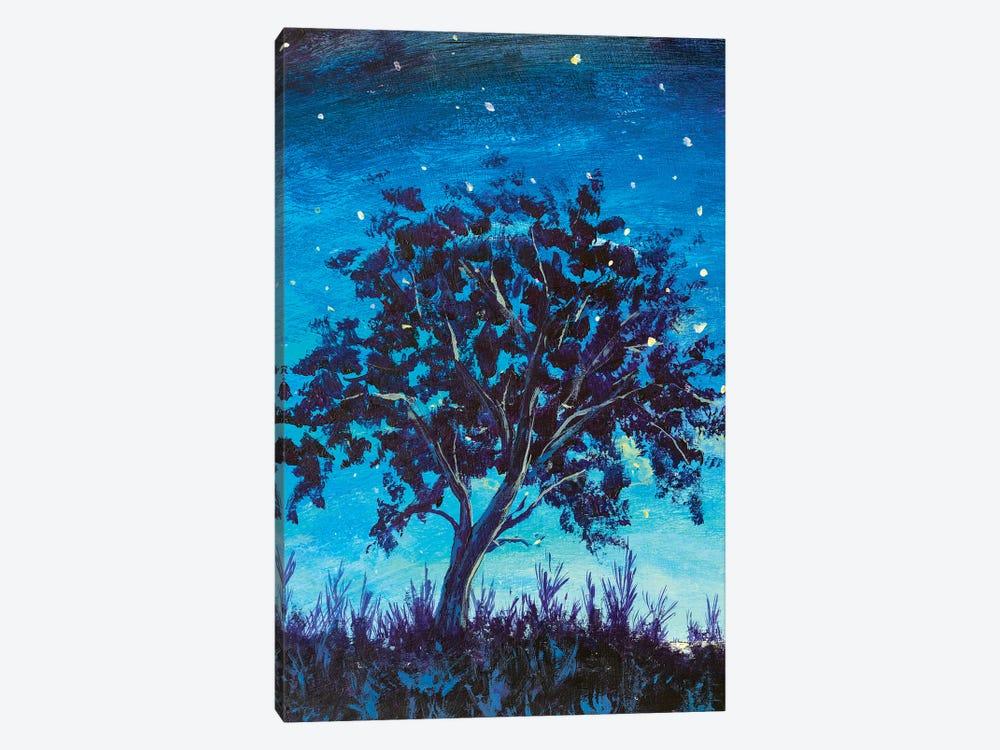 Shooting Stars In Fantasy Landscape At Night. Big lonely dark tree by Valery Rybakow 1-piece Canvas Wall Art