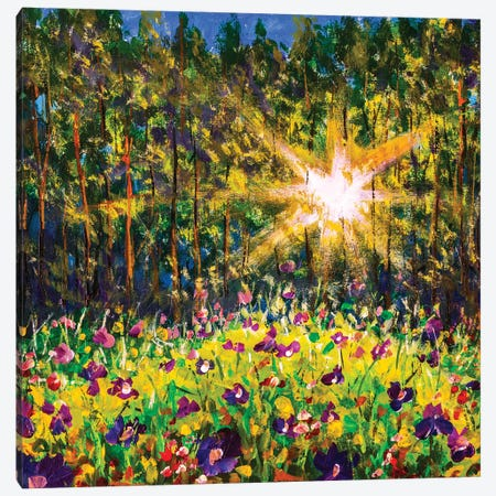 Oil painting Flower forest on sunny summer evening. Purple flowers in sunset light. Forest glade in sunlight. Canvas Print #VRY402} by Valery Rybakow Canvas Artwork