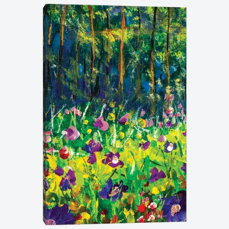 Oil painting landscape - Summer glade. Near forest glade purple flowers impressionism modern artwork Canvas Print #VRY403} by Valery Rybakow Canvas Artwork