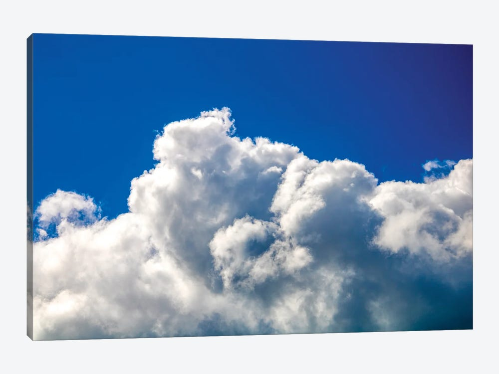Gloomy dramatic cloudy blue sky background with fleecy curly soft white clouds. by Valery Rybakow 1-piece Canvas Artwork