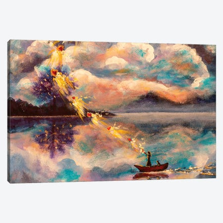 Girl And Cat In Boat Canvas Print #VRY40} by Valery Rybakow Canvas Art