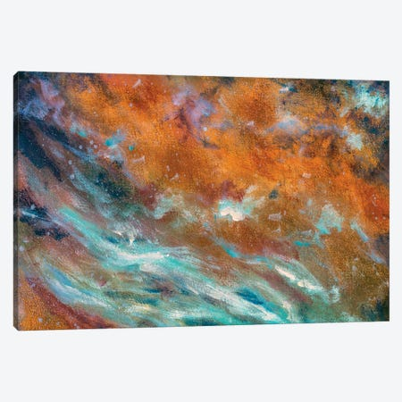 abstract painted textured background in cosmic blue cold and warm brown colors Canvas Print #VRY412} by Valery Rybakow Canvas Art Print