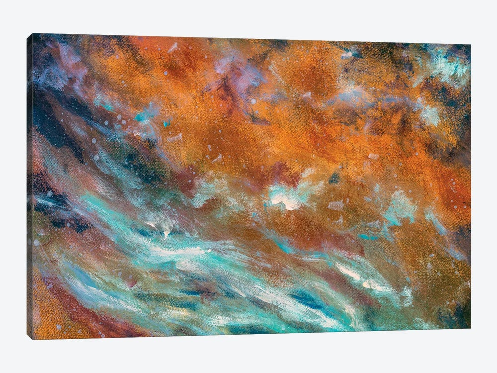 abstract painted textured background in cosmic blue cold and warm brown colors by Valery Rybakow 1-piece Canvas Wall Art