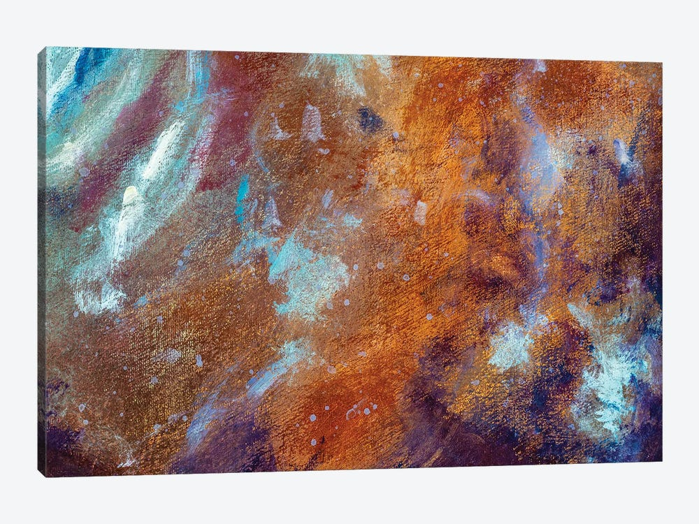 Abstract cosmos universe river lake clouds modern textural painting by Valery Rybakow 1-piece Canvas Art Print