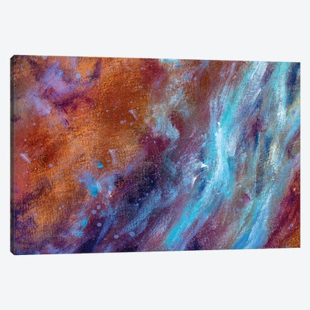 cosmic blue cold and warm brown colors painting on canvas Canvas Print #VRY416} by Valery Rybakow Canvas Art