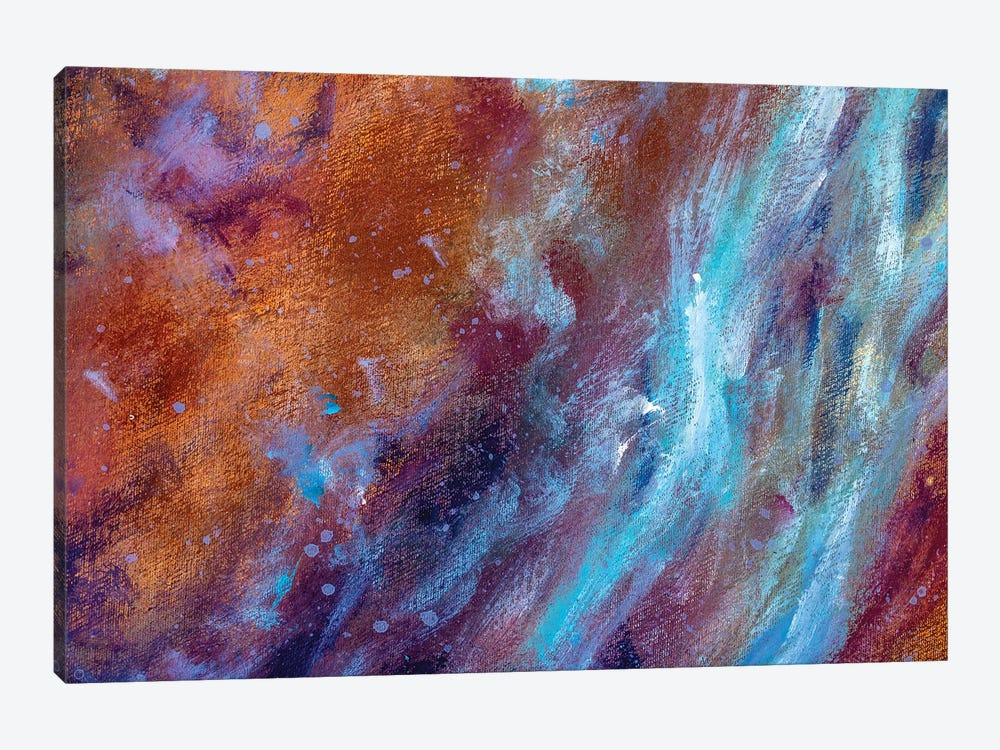 cosmic blue cold and warm brown colors painting on canvas by Valery Rybakow 1-piece Canvas Artwork