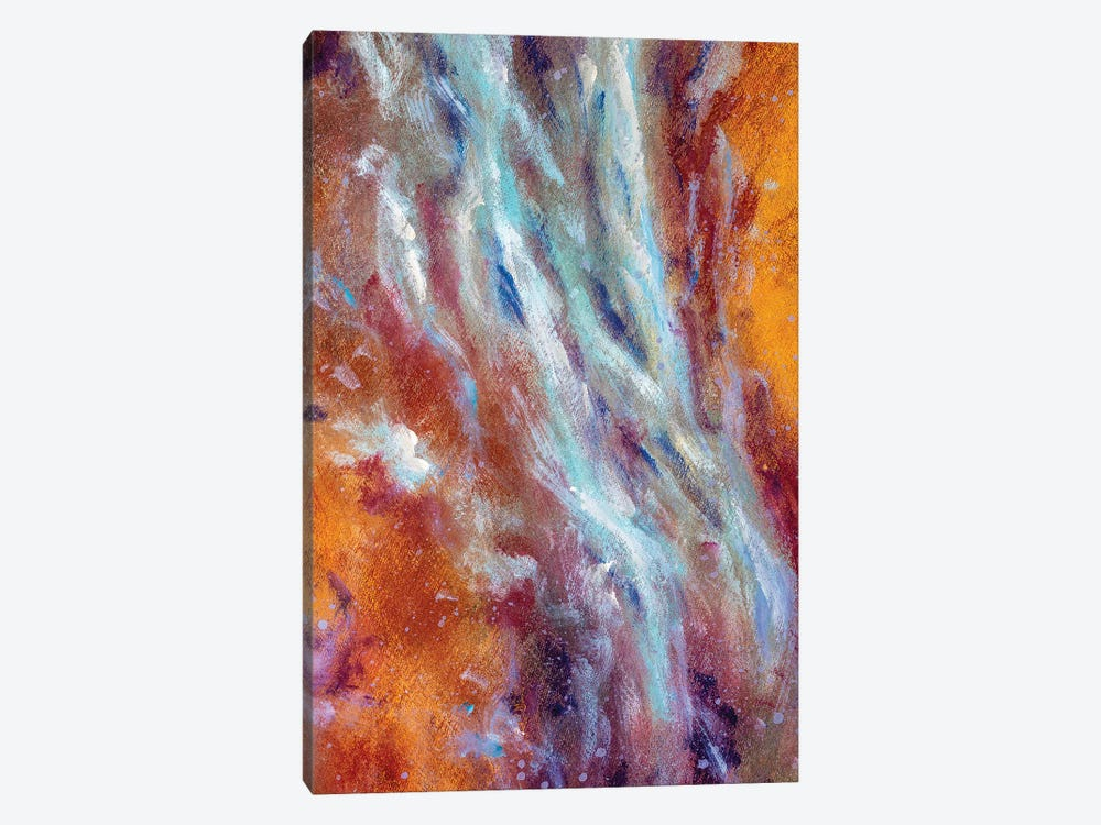 Abstract blue cold and warm brown colors painting on canvas by Valery Rybakow 1-piece Art Print