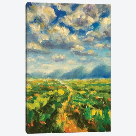 Sunny day in mountains oil painting 3-Piece Canvas #VRY419} by Valery Rybakow Art Print