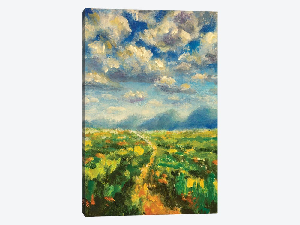 Sunny day in mountains oil painting by Valery Rybakow 1-piece Canvas Print
