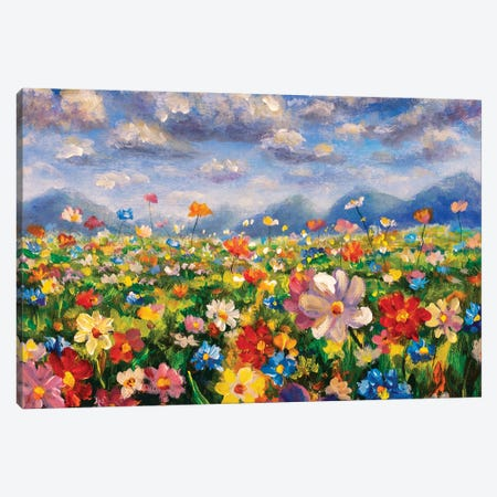 Flower Field In The Mountains Oil Painting Canvas Print #VRY421} by Valery Rybakow Canvas Wall Art