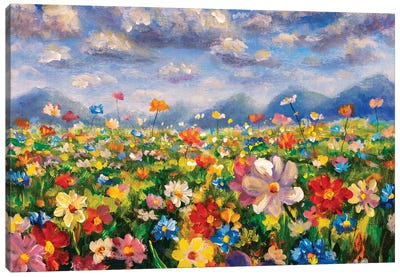 Flower Field In The Mountains Oil Painting Canvas Art Print