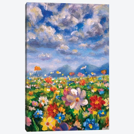 Wildflowers In The Mountains Oil Painting Canvas Print #VRY422} by Valery Rybakow Canvas Art