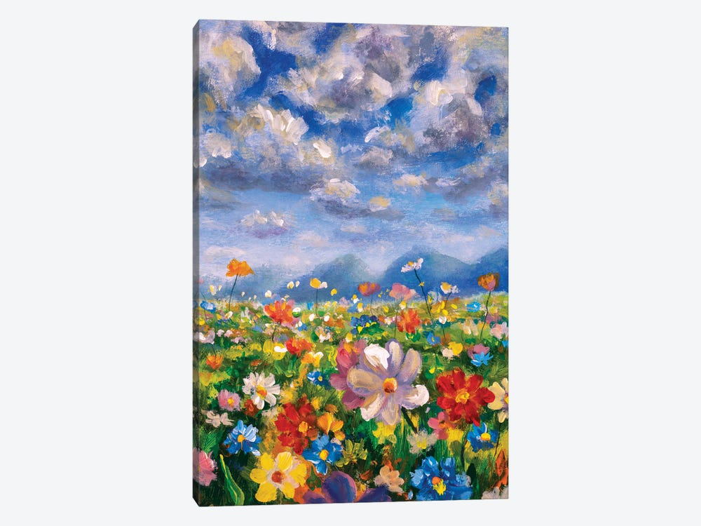 Wildflowers In The Mountains Oil Painting by Valery Rybakow 1-piece Canvas Print