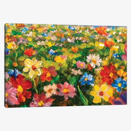 Summer Flowers Oil Painting Canvas Print #VRY423} by Valery Rybakow Canvas Wall Art