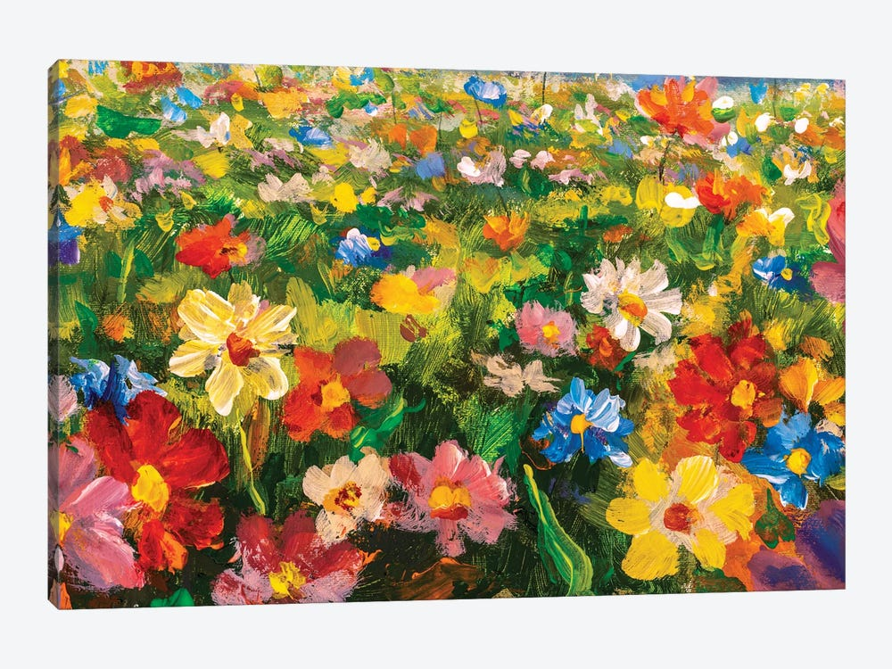 Summer Flowers Oil Painting by Valery Rybakow 1-piece Canvas Wall Art