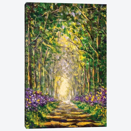 Sunny Footpath Road In Sunlight Park Canvas Print #VRY426} by Valery Rybakow Canvas Art Print