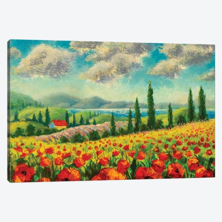 Landscape With Cypress Trees, Red Poppies, Beautiful Sea And Mountains Canvas Print #VRY427} by Valery Rybakow Art Print