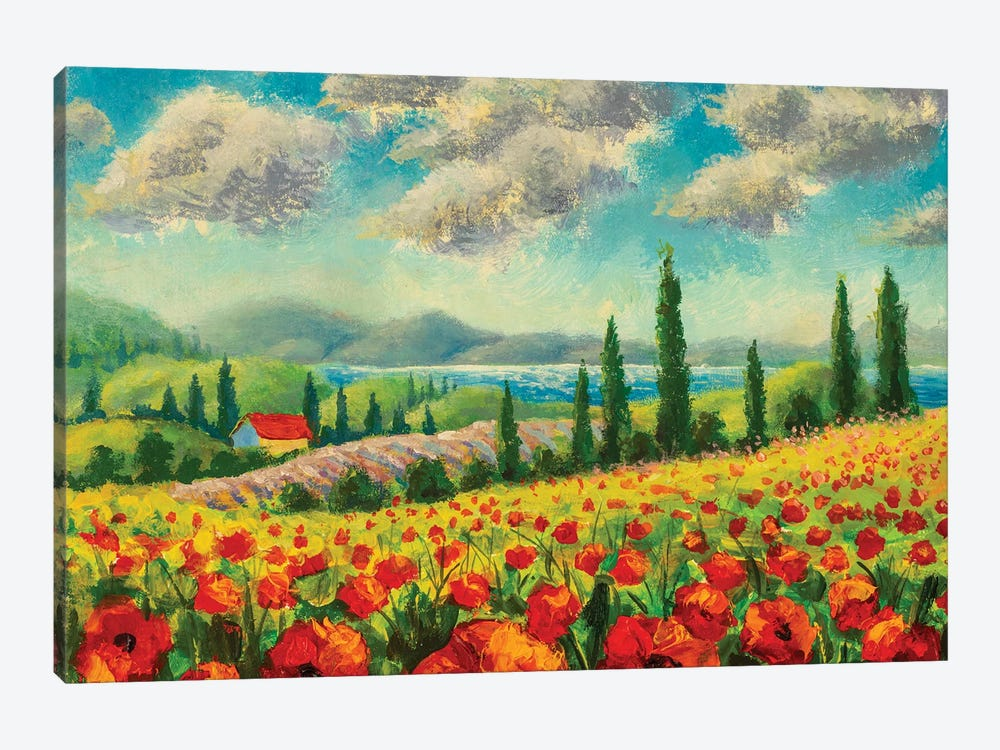 Landscape With Cypress Trees, Red Poppies, Beautiful Sea And Mountains by Valery Rybakow 1-piece Canvas Artwork